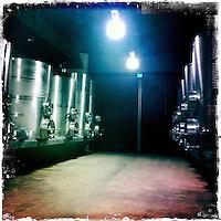 25 February 2012: Cade winery steel VAT in Howell Mountain, Napa, California.  iPhone Stock Photo