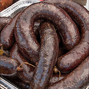 Blood sausages at street fair in Hoboken, NJ<br />