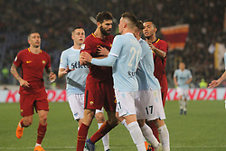 April 15, 2018 - Rome, Lazio, Italy - Moment of tension on court.at Stadio Olimpico of Roma. Lazio and Roma tied for 0-0 the ''derby della Capitale'' of Italian Serie A. (Credit Image: © Paolo Pizzi/Pacific Press via ZUMA Wire)