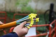 Mannheim. 05.04.16 Luisenpark. Verlegung von Glasfaserkabel.<br /> Mit dem Spülbohrverfahren werden die Kabel zwei Meter tief unter der Oberfläche verlegt. Der Park nutzt die Glasfaser zur internen Datenübermittlung. <br /> - Christian Wurzel zeigt die Leerrohre mit den insgesamt 23 Micro Pipes, in denen die Glasfaser eingeschossen werden können.<br /> Bild: Markus Prosswitz 05APR16 / masterpress (Bild ist honorarpflichtig - No Model Release!)