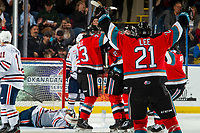 KELOWNA, BC - NOVEMBER 16: Jake Lee #21 of the Kelowna Rockets celebrates a goal against the Kamloops Blazers at Prospera Place on November 16, 2019 in Kelowna, Canada. (Photo by Marissa Baecker/Shoot the Breeze)