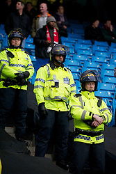 MANCHESTER, ENGLAND - Sunday, January 8, 2012: Greater Manchester police in riot gear before the FA Cup 3rd Round match between Manchester City and Manchester United at the City of Manchester Stadium. (Pic by David Rawcliffe/Propaganda)