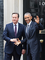 Downing Sreet, London, April 22nd 2016. United States President Barak Obama arrives at 10 Downing Street to meet with British Prime Minister David Cameron. ©Paul Davey<br /> FOR LICENCING CONTACT: Paul Davey +44 (0) 7966 016 296 paul@pauldaveycreative.co.uk