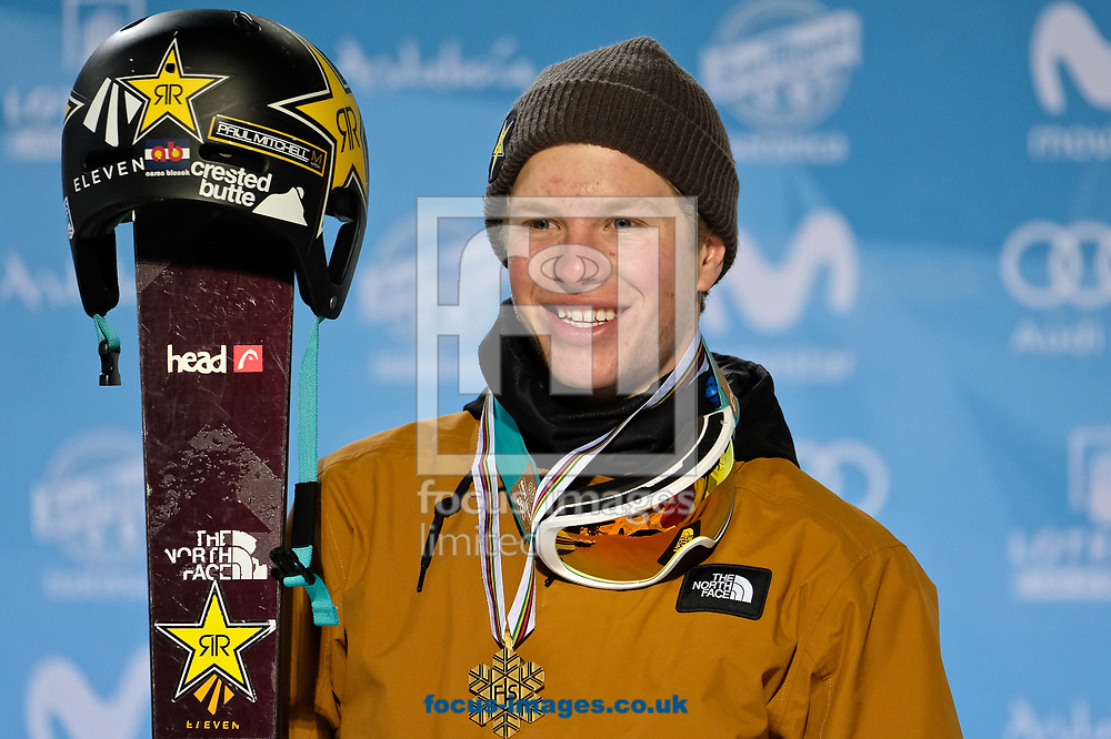 Aaron Blunck (USA) celebrates after winning the gold medal following the Men's Half Pipe Final on Day Eleven of the FIS Freestyle Ski &amp; Snowboard World Championships 2017 at Sierra Nevada Ski Station, Granada<br /> Picture by Kristian Kane/Focus Images Ltd +44 7814 482222<br /> 18/03/2017