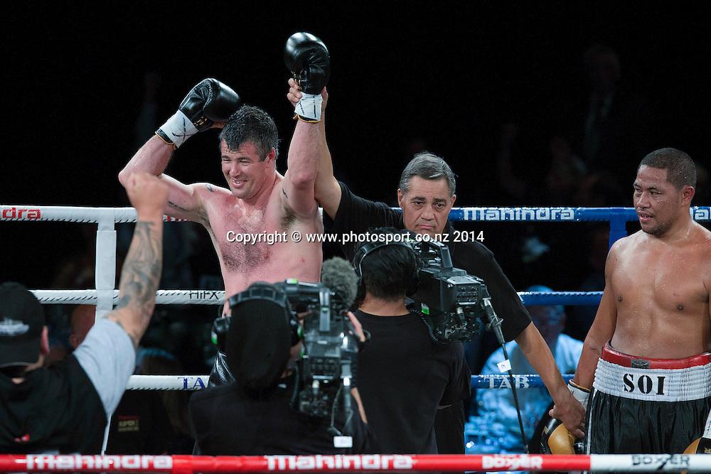 Brad `Hollywood` Pitt defeats Vaitele SoI in the final of the Mahindra Super 8 Fight Night, North Shore Events Centre, Auckland, New Zealand, Saturday, November 22, 2014. Photo: David Rowland/Photosport