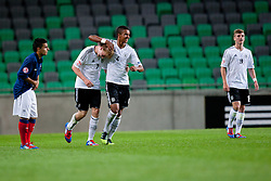Julian Brandt of Germany and Marian Sarr of Germany celebrate during the UEFA European Under-17 Championship Group A match between Germany and France on May 10, 2012 in SRC Stozice, Ljubljana, Slovenia. Germany defeated France 3:0. (Photo by Matic Klansek Velej / Sportida.com)