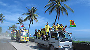 Timor-Leste Deputy Prime Minister and presidential candidate Jose Luis Guterres 's supporters parade the Dili streets during a campaign rally March 11, 2012
