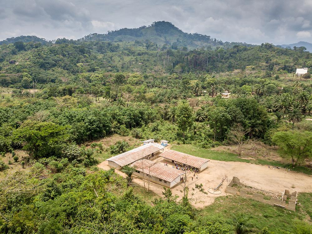 Aerial shot of a school in Ganta, Liberia