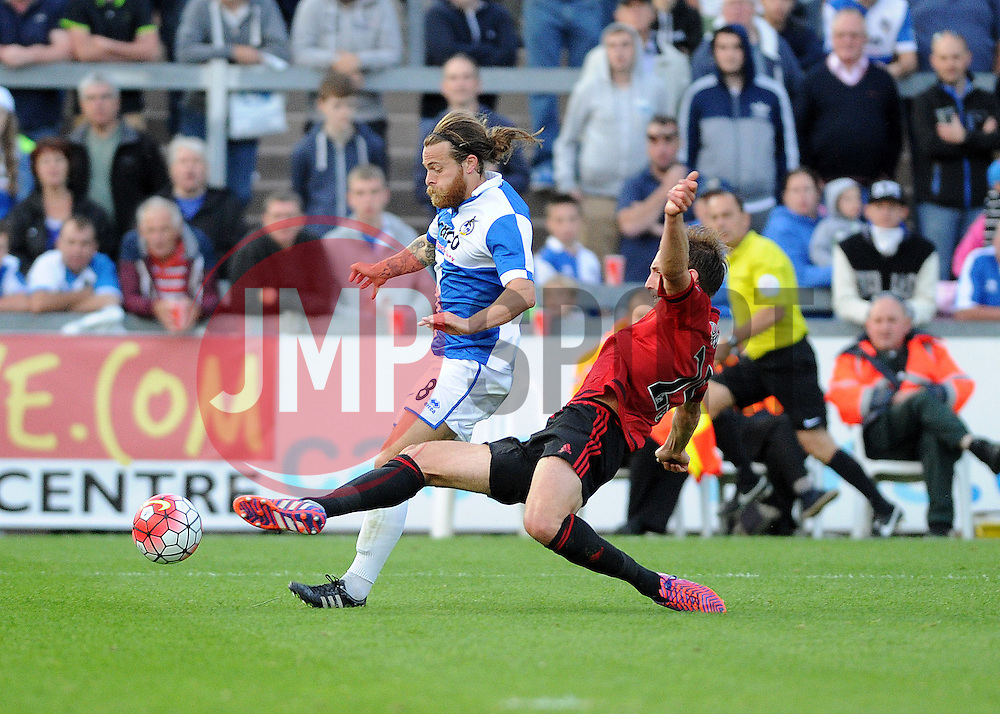 Stuart Sinclair of Bristol Rovers is challenged by Craig Dawson of West Brom - Mandatory by-line: Neil Brookman/JMP - 07966386802 - 31/07/2015 - SPORT - FOOTBALL - Bristol,England - Memorial Stadium - Bristol Rovers v West Brom - Pre-Season Friendly