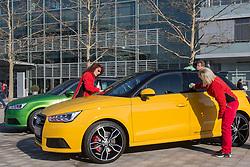 10.03.2015, Audi Forum, Ingolstadt, GER, AUDI AG Jahrespressekonferenz, im Bild Ausstellung Audi auf der Audi Piazza - letzte Reinigung vor dem Ansturm der internationalen Presse  // during AUDI AG Annual Press Conference at the Audi Forum in Ingolstadt, Germany on 2015/03/10. EXPA Pictures © 2015, PhotoCredit: EXPA/ Eibner-Pressefoto/ Strisch<br /> <br /> *****ATTENTION - OUT of GER*****