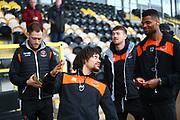 Blackpool players arrive at the Pirelli Stadium during the EFL Sky Bet League 1 match between Burton Albion and Blackpool at the Pirelli Stadium, Burton upon Trent, England on 16 March 2019.
