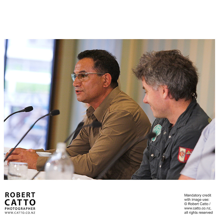 Temuera Morrison and director Vincent Ward answer questions at the press conference before the premiere of the film River Queen in Wanganui, New Zealand.<br />