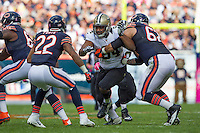 06 October 2013: Defensive end (94) Cameron Jordan of the New Orleans Saints rushes against the Chicago Bears during the first half of the Saints 26-18 victory over the Bears in an NFL Game at Soldier Field in Chicago, IL.