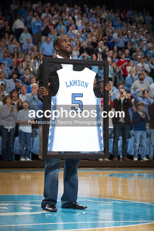 13 February 2010: Former North Carolina Tar Heels and member of the 2009 national champion team, Tywon Lawson (5) while his jersey was honored at the Dean E. Smith Center in Chapel Hill, NC.