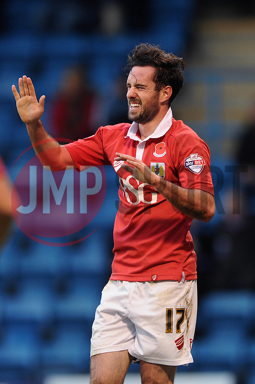 Bristol City's Greg Cunningham celebrates his goal. - Photo mandatory by-line: Dougie Allward/JMP - Mobile: 07966 386802 - 08/11/2014 - SPORT - Football - Gillingham - Priestfield Stadium - Gillingham v Bristol City - FA Cup - Round One