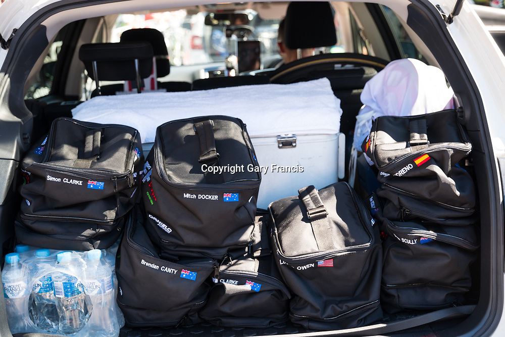 Riders bags in the boot of Ef Education First Drapac team car at the start of Stage 2, Unley to Stirling, of the Tour Down Under, Australia on the 17 of January 2018 ( Credit Image: © Gary Francis / ZUMA WIRE SERVICE )