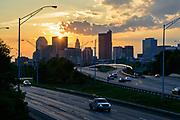Columbus, Ohio skyline at sunset.