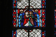 Visitation, depicting Mary visiting Elizabeth, stained glass window, late 13th century, from a series of windows on the New Testament, in the Chapelle Saint Joseph, the North apse chapel of the Basilique Saint-Urbain de Troyes, or Basilica of Saint Urban of Troyes, a 13th century Gothic church in Troyes, Aube, France. The basilica was founded in 1262 under Pope Urban IV and consecrated in 1382, although the building was not completed until the 20th century. It is listed as a national monument. Picture by Manuel Cohen