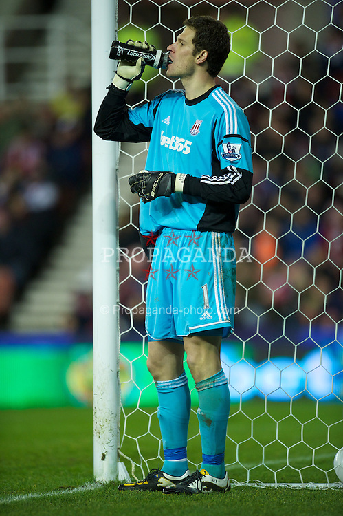 STOKE-ON-TRENT, ENGLAND - Boxing Day Wednesday, December 26, 2012: Stoke City's goalkeeper Asmir Begovic in action against Liverpool during the Premiership match at the Britannia Stadium. (Pic by David Rawcliffe/Propaganda)
