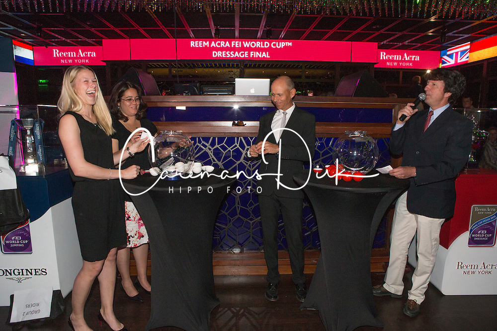 Kirk Thinggaard Agnete, (DEN) and Peters Steffen, (USA) in the Hakkasan Club at the MGM Hotel performing the draw for the Grand Prix <br /> Reem Accra FEI World Cup&trade; Dressage Finals <br /> Las Vegas 2015<br />  &copy; Hippo Foto - Dirk Caremans<br /> 16/04/15