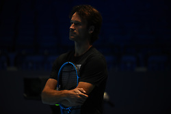 November 10, 2017 - London, England, United Kingdom - Carlos Moya is seen during a training session prior to the Nitto ATP World Tour Finals at O2 Arena, London on November 10, 2017. (Credit Image: © Alberto Pezzali/NurPhoto via ZUMA Press)
