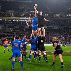 NZ's Scott Barrett steals France's Yoann Maestri's lineout ball during the Steinlager Series international rugby match between teh New Zealand All Blacks and France at Eden Park in Auckland, New Zealand on Saturday, 9 June 2018. Photo: Dave Lintott / lintottphoto.co.nz