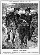 The policies of the British Liberal party were seen by some as creeping Socialism and, at the general election of January 1910, their parliamentary majority was sharply cut. Cartoon by Bernard Partridge from 'Punch', London, October 1909.