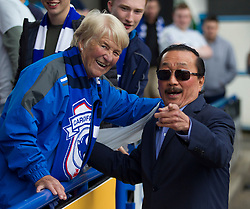 Cardiff City owner Vincent Tan greets away fans before the match - Mandatory by-line: Jack Phillips/JMP - 25/08/2018 - FOOTBALL - The John Smith's Stadium - Huddersfield, England - Huddersfield Town v Cardiff City - English Premier League
