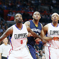 12 April 2016: Memphis Grizzlies forward Jarell Martin (10) vies for the rebound with Los Angeles Clippers forward Jeff Green (8) and Los Angeles Clippers forward Paul Pierce (34) during the Los Angeles Clippers 110-84 victory over the Memphis Grizzlies, at the Staples Center, Los Angeles, California, USA.