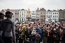 Ann-Sophie Duyck (BEL) looks out at the crowd from the sign on stage at Ronde van Vlaanderen - Elite Women 2018 a 151.9 km road race starting and finishing in Oudenaarde, Belgium on April 1, 2018. Photo by Sean Robinson/Velofocus.com