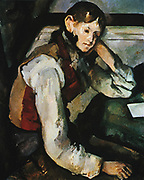 Boy in a Red Waistcoat', 1894-1895.  Oil on canvas. Paul Cezanne (1839-1906) French Post-Impressionist painter. Portrait Seated