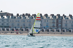 Weymouth Olympic Test Event July 2011, Austrian 49er, Nico Delle-Karth helmsmen, Niko Resch Crew, current leader of the world ranking training in Weymouth before the Olympic test event