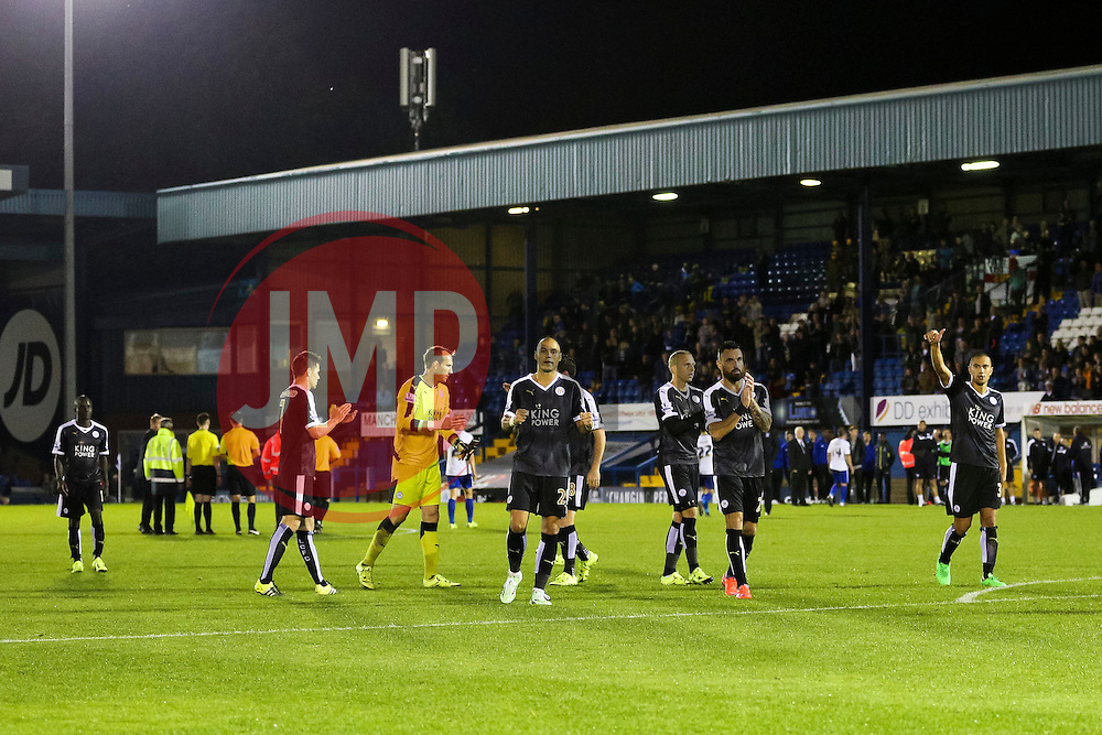 Leicester City players celebrate after the final whistle - Mandatory byline: Matt McNulty/JMP - 07966386802 - 25/08/2015 - FOOTBALL - Gigg Lane -Bury,England - Bury v Leicester City - Capital One Cup - Second Round