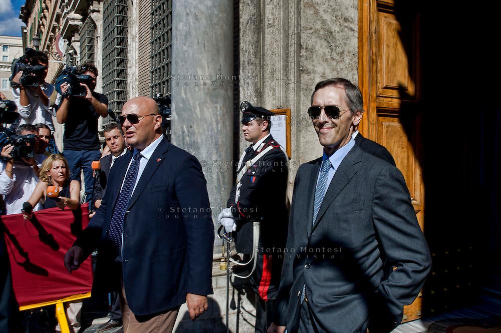 Roma 2 Ottobre 2013<br /> Niccolo' Ghedini Senatore del Popolo della Liberta', lascia il Senato dopo il voto di fiducia<br /> Niccolo' Ghedini, the senator of Party of the Freedom, and Berlusconi's lawyeleaves  the Upper House after  the confidence vote