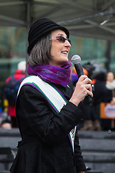 "City Hall, London, March 5th 2017. Stars join March4Women through London. Mayor of London Sadiq Khan and suffragette descendents prepare to march and ""sing for a fairer world ahead of International Women's Day"". Attended by Annie Lennox, Emeli Sande, Helen Pankhurst, Bianca Jagger and with musical performances from Emeli Sande, Melanie C and more. PICTURED: Helen Pankhurst, great granddaughter of Emily Pankhurst."