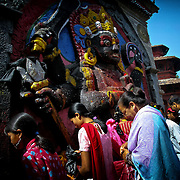 The faithful gather for morning prayers in Katmandu, Nepal.