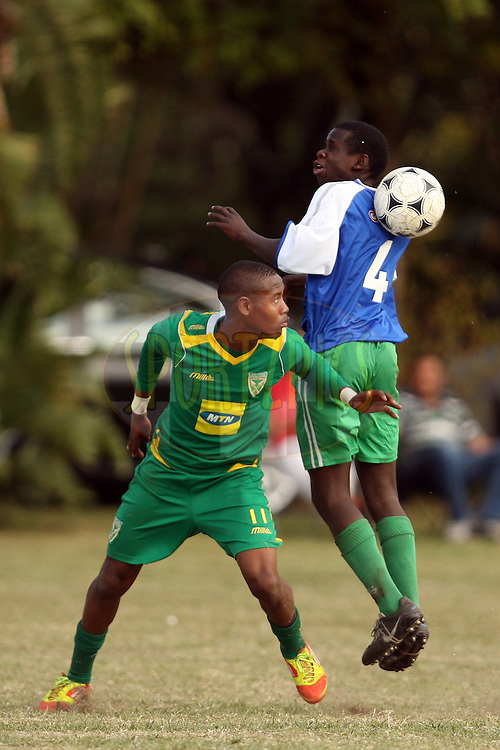 Golden Arrows FC (green) v Junior Aces (blue) during the final of the Engen Knock Out Challenge 2012  held in Durban, Kwazulu Natal, South Africa on the 2nd September 2012..Photo by Jacques Rossouw/SPORTZPICS