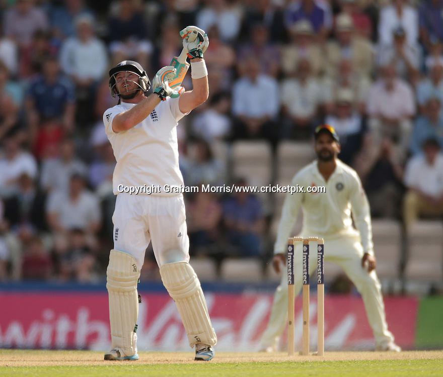 Ian Bell plays his last shot (caught on 167) during the third Investec Test Match between England and India at the Ageas Bowl, Southampton. Photo: Graham Morris/www.cricketpix.com (Tel: +44 (0)20 8969 4192; Email: graham@cricketpix.com) 28/07/14