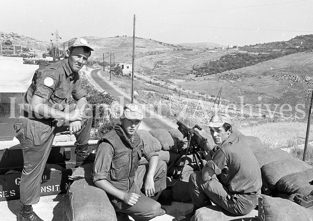 Manning a Lookout Post at As-Sultaniyah, South Lebanon, (L-R) Cpl Hugh McConnell, Pte Speedy Cummins and Pte Kevin Nicell all from Athlone with C Coy 43rd Batt, 15/06/1978 (Part of the Independent Newspapers Ireland/NLI Collection).