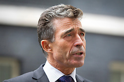 © Licensed to London News Pictures. 18/09/2013. London, UK. NATO Secretary General Anders Fogh Rasmussen is seen giving talking to the media on Downing Street in London today (18/09/2013) after meeting with the British Prime Minister David Cameron. Photo credit: Matt Cetti-Roberts/LNP