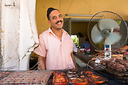 Beef Kefta street food, Moulay Idriss, Middle Atlas, Morocco 2016-08-11.<br />