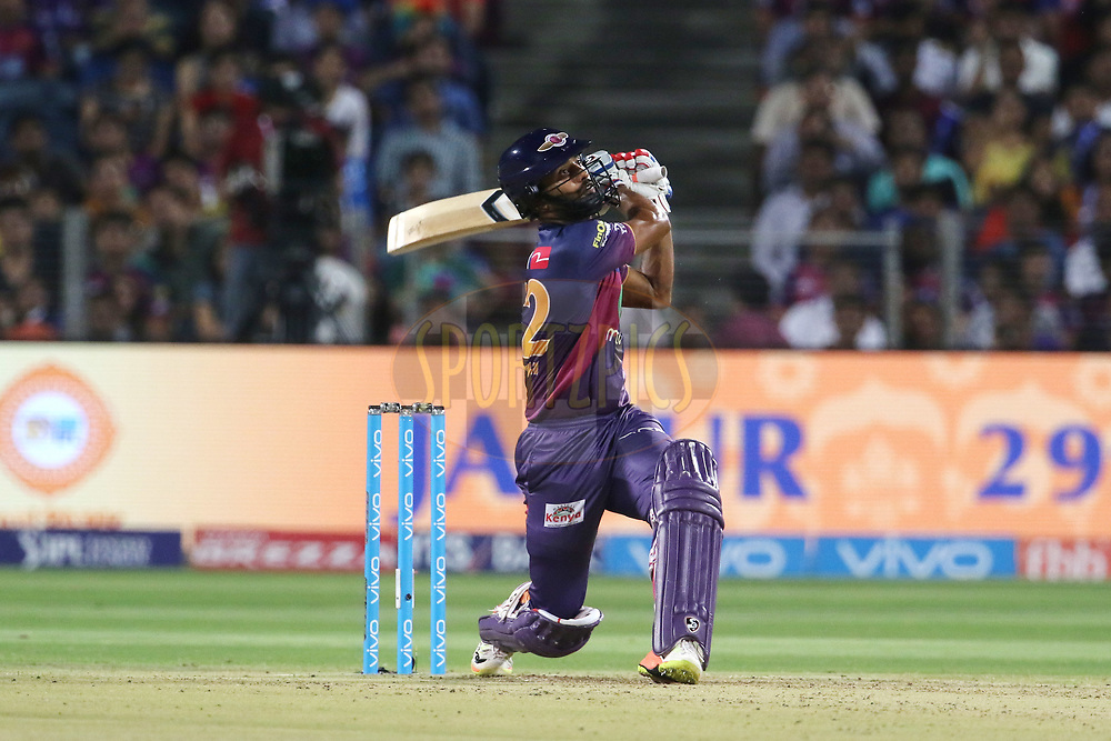 Rahul Ajay Tripathi of Rising Pune Supergiant plays a shot during match 30 of the Vivo 2017 Indian Premier League between the Rising Pune Supergiants and the Kolkata Knight Riders  held at the MCA Pune International Cricket Stadium in Pune, India on the 26th April 2017<br /> <br /> Photo by Vipin Pawar- IPL - Sportzpics