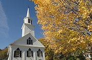 Fall foliage frames white church, Townshend, Vermont