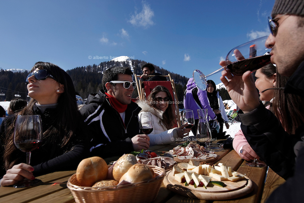 Italy, Madonna di Campiglio, brunch with friends at Patascoss refuge