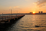 Pier Riverside South, Sunset Hudson RIver, New York City, New York, Looking towards New Jersey