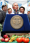 NEW YORK - JUNE 11: NYC Mayor Michael Bloomberg speaks at the press conference announcing  plans for Farm Aid in Union Square Park on June 11, 2007 in New York City.