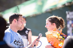 Manon Carpenter is interviewed afterher maiden World Cup win during the 2014 UCI Mountainbike World Cup at Pietermaritzburg, South Africa.
