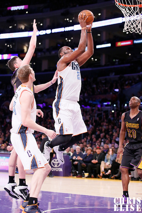 31 January 2014: Charlotte Bobcats center Al Jefferson (25) goes for the jumpshot during the Charlotte Bobcats 110-100 victory over the Los Angeles Lakers at the Staples Center, Los Angeles, California, USA.