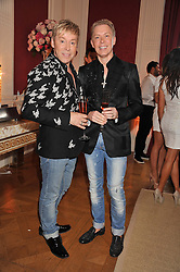 Left to right, ROYSTON BLYTHE and NICK MALENKO at a party to celebrate Tamara Ecclestone's 28th birthday held in Tyringham, Newport Pagnell, Bucks on15th June 2012.