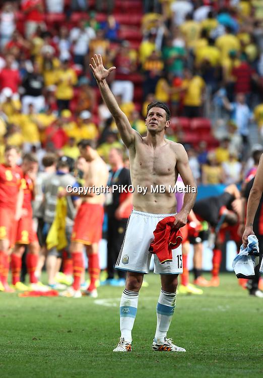 Fifa Soccer World Cup - Brazil 2014 - <br /> ARGENTINA (ARG) Vs. BELGIUM (BEL) - Quarter-finals - Estadio Nacional Brasilia -- Brazil (BRA) - 05 July 2014 <br /> Here Argentine players celebrating after winning the match<br />  Martin Demichelis<br /> &copy; PikoPress